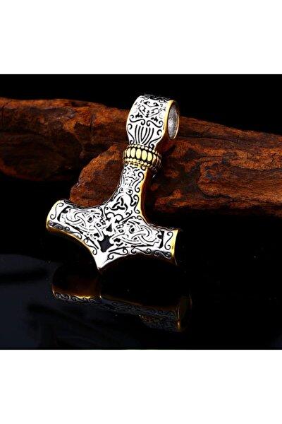 Altın Renk Detaylı Paslanmaz Titanyum Alaşım Çelik Iskandinav Thor Kolye Ve Zincir