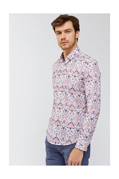 Erkek Turuncu Baskılı Alttan Britli Yaka Regular Fit Gömlek A91y2079