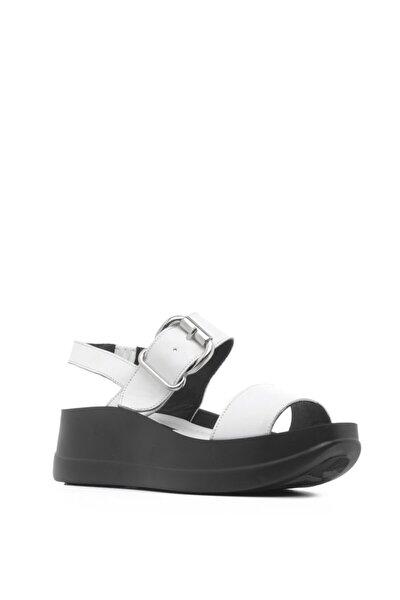 Kiko Bayan Sandalet Beyaz Deri-siyah Astar