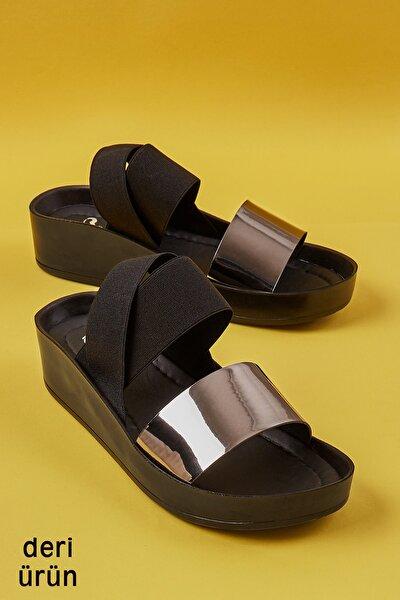 Hakiki Deri Kurşun Kadın Sandalet L0515131039