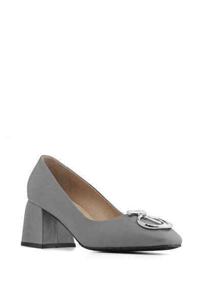 Klara Bayan Topuklu Ayakkabı Gri Deri