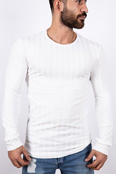Erkeke Desenli U Yaka Sweatshirt Beyaz