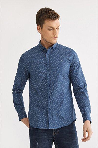 Erkek Lacivert Baskılı Düğmeli Yaka Slim Fit Gömlek A92y2223