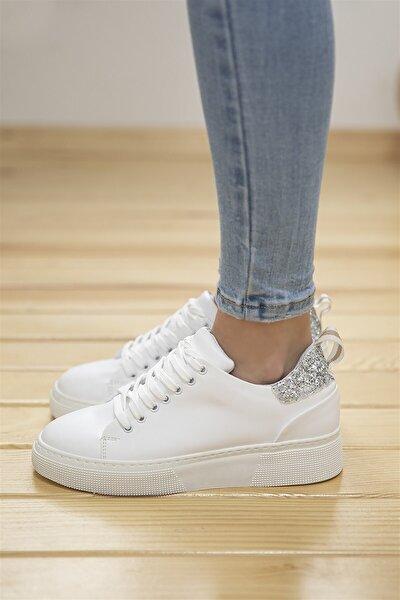 Papel Bayan Deri Cam Kırık Detaylı Spor Ayakkabı Beyaz-gümüş