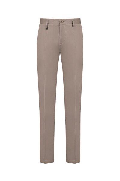 Erkek Vizon Yandan Cepli Düz Slim Fit Kumaş Pantolon A91y3015