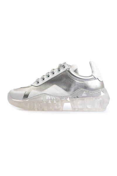Beyaz Şeffaf Tabanlı Kadın Spor Ayakkabı