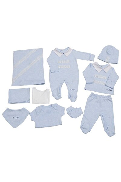 Pierre Cardin Bebek Giyim 10'lu Hastane Çıkış Seti Yakalı Mavi-melanj