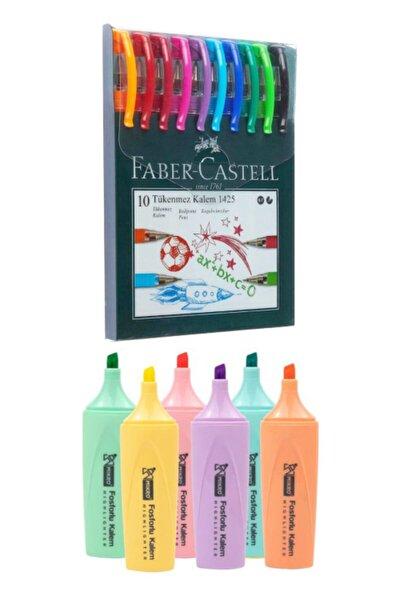 10 Renk Tükenmez Kalem 1425 + Mikro 6 Renk Pastel Fosforlu Mk-605