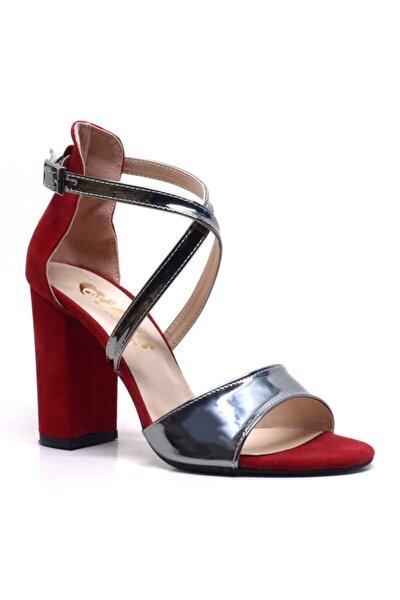 Kırmızı Süet-gümüş Tek Bantlı Kadın Topuklu Abiye Ayakkabı