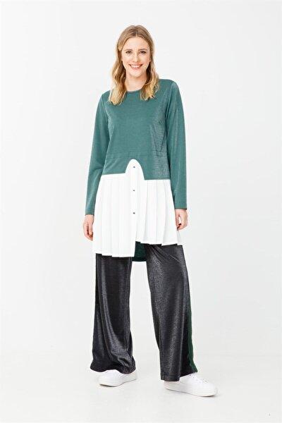 Pile Detaylı Tunik Pantolon Takımı Yeşil