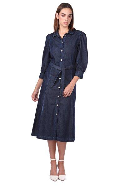 Düğme Detaylı Kemerli Lacivert Jean Elbise