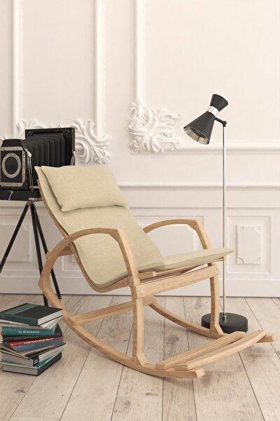 Ahşap Sallanan Sandalye Dinlenme Koltuğu Krem