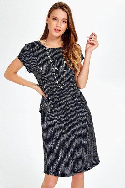 Kayık Yaka Cepli Desenli Elbise 019-04-4079