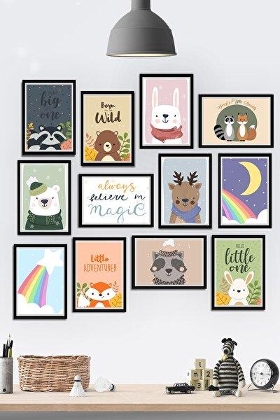 Çerçeve Görünümlü Çocuk Odası Tatlı Hayvanlar Temalı Mdf Tablo Seti 80x80cm 12 Parça