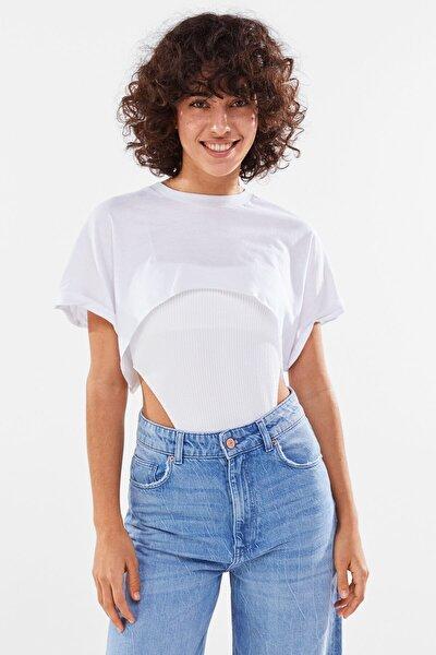 Kadın Beyaz Crop Tişört 02202443