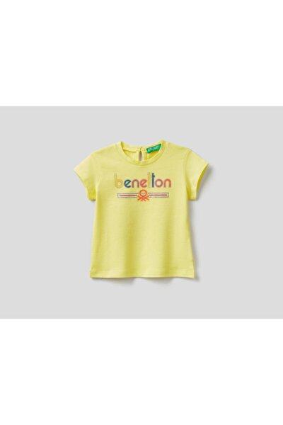 Kız Çocuk Sarı Benetton Yazılı Tshirt