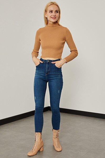 Taşlanmış Yüksek Bel Pantolon