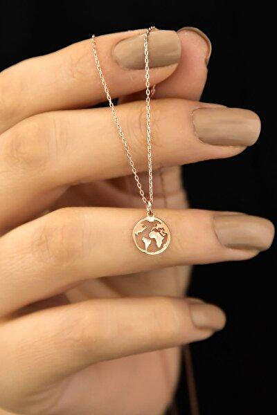 925 Ayar Gümüş Rose Kaplama Dünya Kadın Kolye