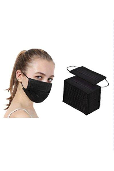 3 Katlı Burun Kısmı Telli Koruyucu Ultrasonik Yüz Maskesi Siyah 50 Adet