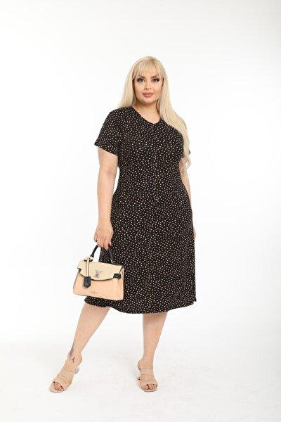 Kadın Büyük Beden Siyah Üzeri Kahverengi Benekli Günlük Viskon Elbise