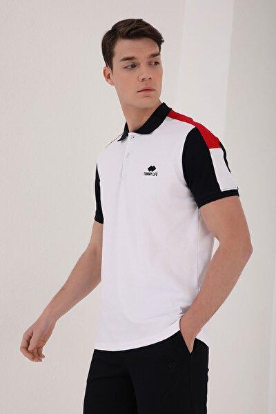 Beyaz Erkek Tek Omuz Yazı Baskılı Standart Kalıp Polo Yaka T-shirt - 87940
