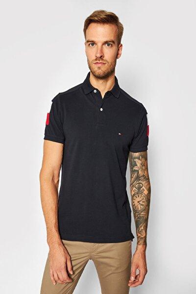 Erkek Siyah Color Block Slim Fit Polo Yaka T-shirt Mw0mw14434