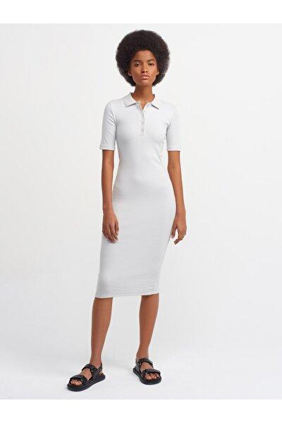 Kadın Gri Polo Yaka Elbise 9093