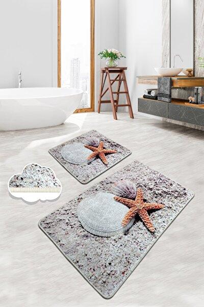 STARFISH 2 Li Set Banyo Halısı Paspas Yıkanabilir Kaymaz Taban Klozet Takımı