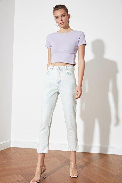 Açık Mavi Yüksek Bel Mom Jeans TWOSS21JE0556