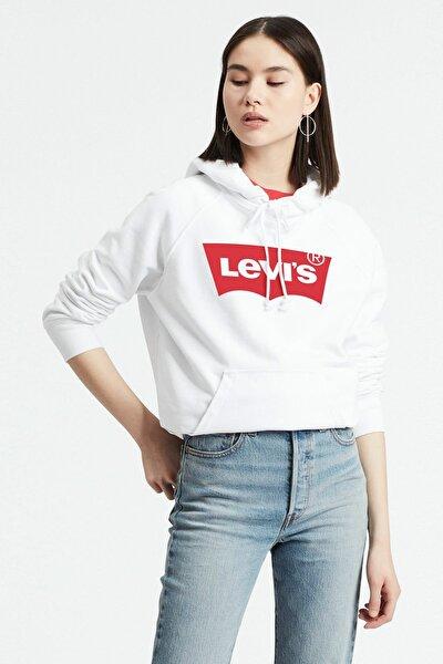 Kadın Beyaz Graphic Sport Hoodie Sweatshirt 35946-0100
