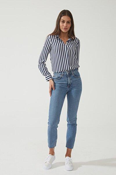 Kadın Sydney Orta Mavi Yüksek Bel Slim Straight Paçası Kesikli Jean Pantolon C 4529-008 C 4529-008