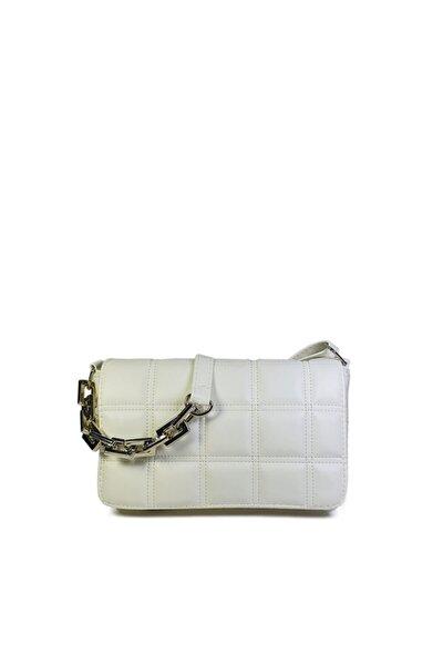 Beyaz Kare Nakışlı Plastik Zincirli Askılı El Ve Omuz Çantası Gc003401