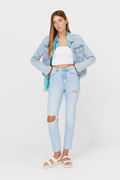 Kadın Mavi Slim Fit Mom Jean