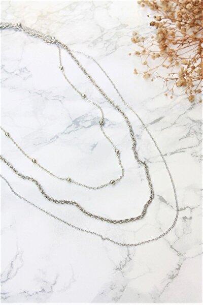 Kadın Gümüş Kaplama Üçlü Uzun Zincir Bijuteri Kolye