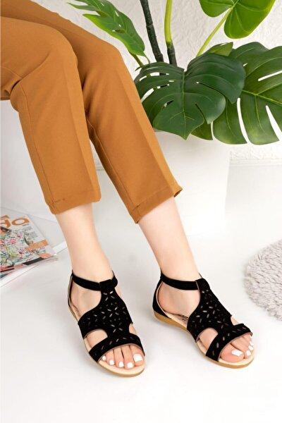 Kadın Siyah Süet Yumuşak Rahat Taban Sandalet