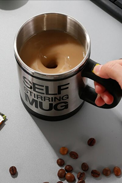 Kendi Kendini Karıştıran Mikser Kupa Termos Bardak; Self Stirring Mug - Siyah