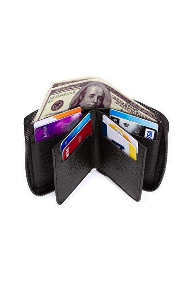 Fermuarlı Erkek Cüzdan Kredi Kartı Kartlık Kağıt Para Cüzdanı Deri Görünümlü
