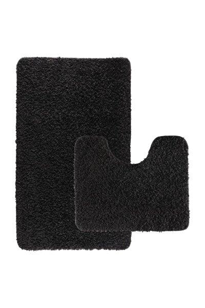 Siyah Shaggy Kıvırcık Halı Kaymaz Tabanlı 2'li Set Banyo Halısı Paspas Seti 60x100