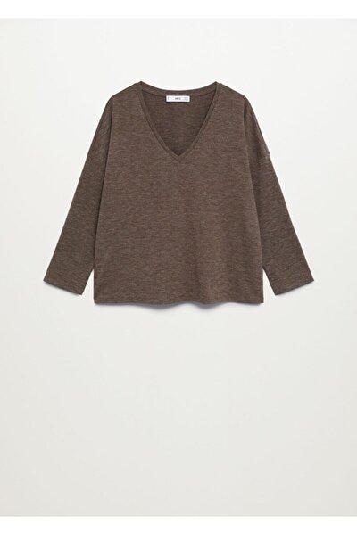 Kadın Kahverengi Uzun Kollu Kırçıllı Tişört