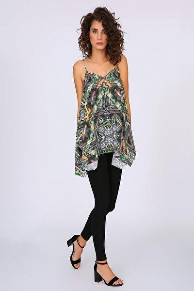 Kadın Renkli Askılı Asimetrik Kesim Bluz