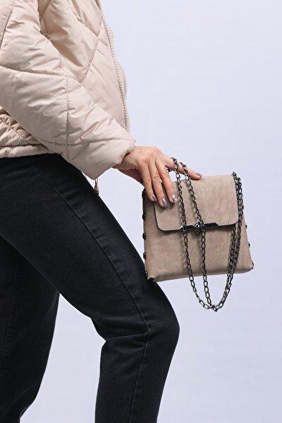 Kadın Bej Zincir Askılı Çapraz Çanta