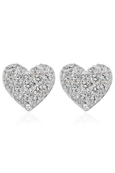 925 Ayar Gümüş Kalpli Küpe Kübik Zirkon Taşlı Sevgili Aşk Pimli Küpe Kadın Hediye