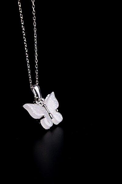 Simli Kelebek 925 Ayar Gümüş Kolye