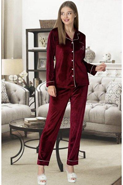 Kadın Bordo Kadife Önden Düğmeli Pijama Takımı