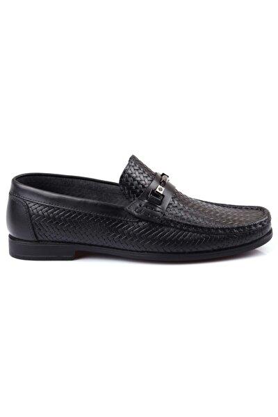 Erkek Siyah Iç Dış Hakiki Deri Baskılı Günlük Ayakkabı Hs900-08