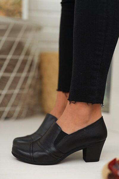 Kadın Siyah Hakik Deri Ayakkabı