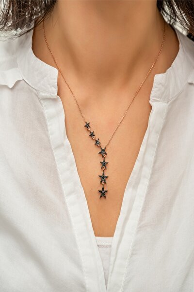 Kadın Sıralı Yıldız Model Zirkon Taşlı Gümüş Kolye 925 Ayar