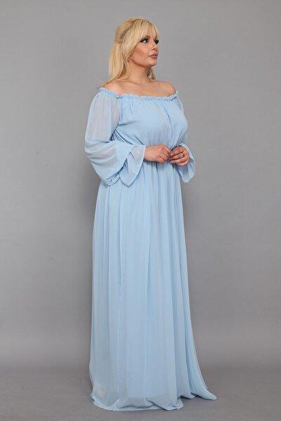 Dökümlü Büyük Beden Bebe Mavi Elbise