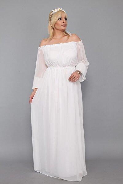 Dökümlü Büyük Beden Beyaz Elbise