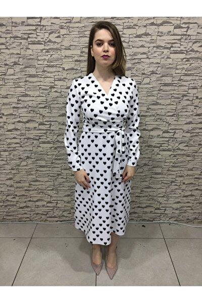 Kadın  Beyaz Kalp Desenli Beyaz Elbise